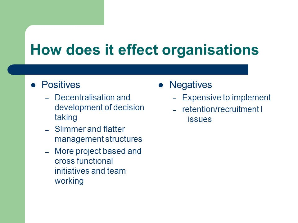 How does it effect organisations Positives – Decentralisation and development of decision taking – Slimmer and flatter management structures – More project based and cross functional initiatives and team working Negatives – Expensive to implement – retention/recruitment I issues