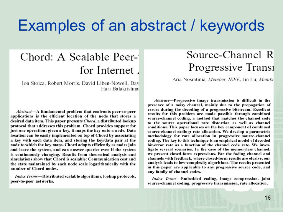 16 Examples of an abstract / keywords