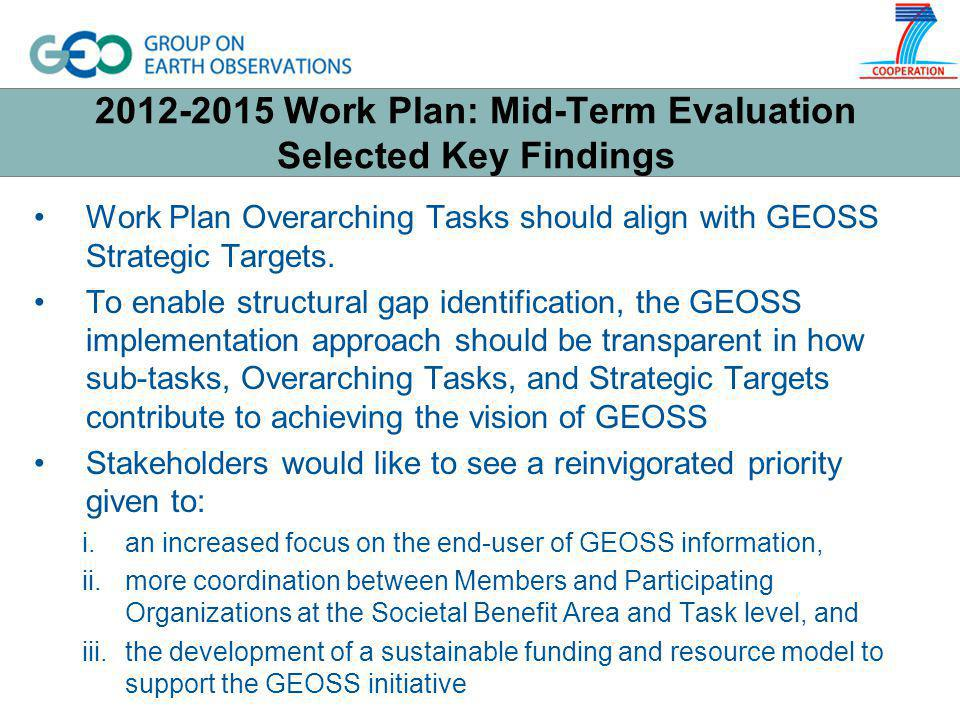 2012-2015 Work Plan: Mid-Term Evaluation Selected Key Findings Work Plan Overarching Tasks should align with GEOSS Strategic Targets.