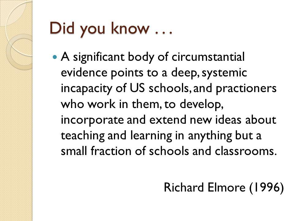 Did you know... A significant body of circumstantial evidence points to a deep, systemic incapacity of US schools, and practioners who work in them, t