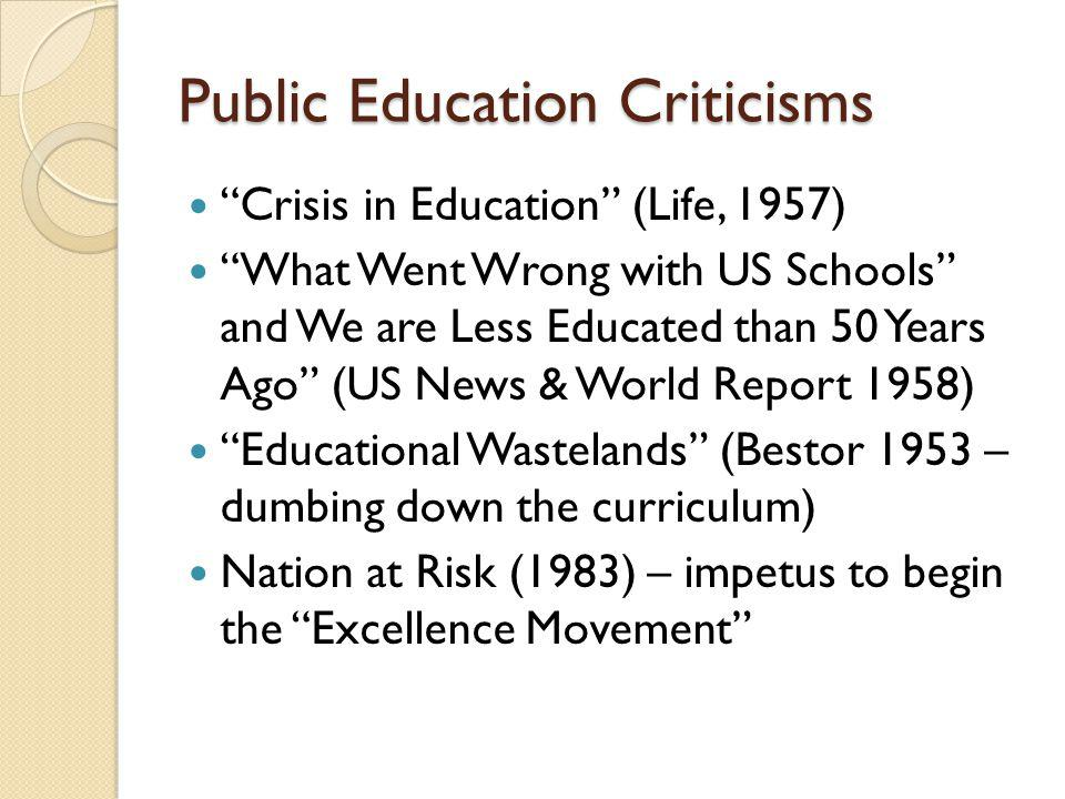 Excellence Movement 1988 Reagan – no real reform; 1990 US DoE confirms that opinion 1989 – Gov.