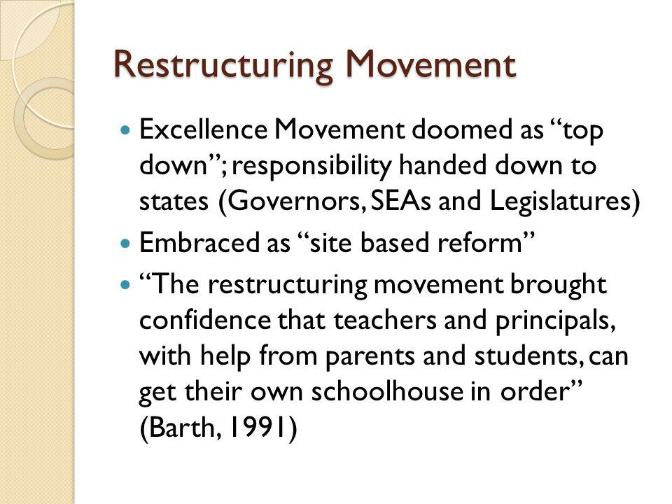 Restructuring Movement Excellence Movement doomed as top down; responsibility handed down to states (Governors, SEAs and Legislatures) Embraced as sit