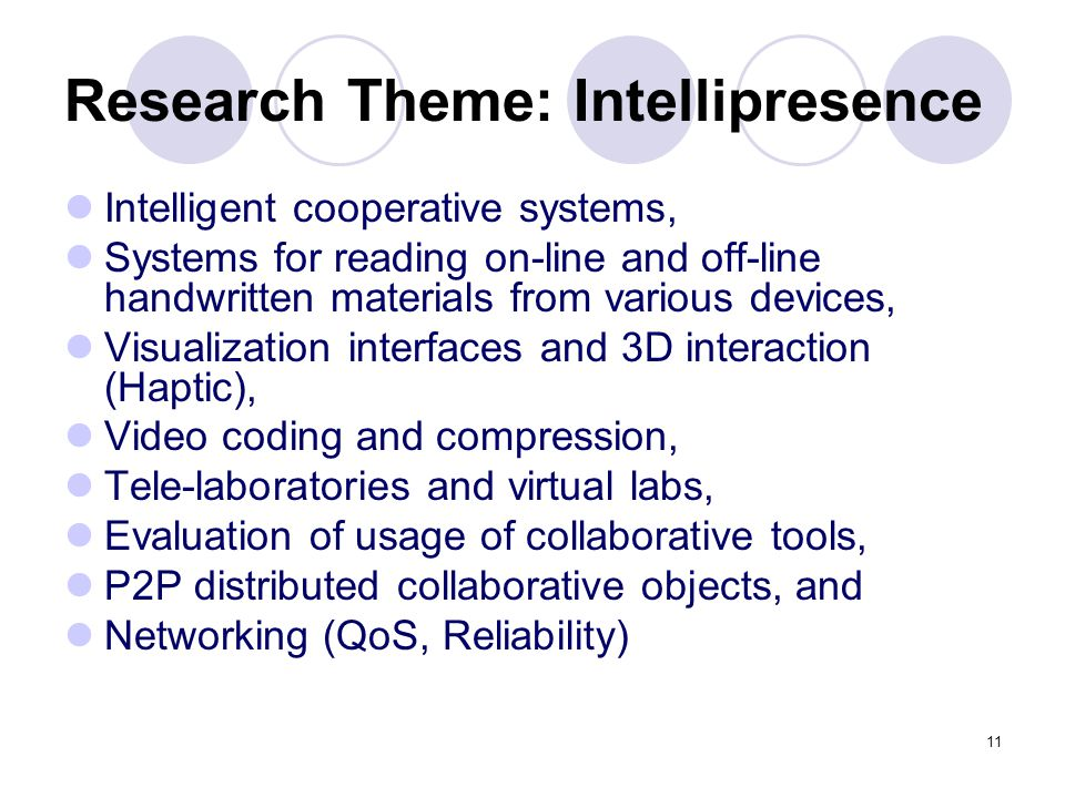 11 Research Theme: Intellipresence Intelligent cooperative systems, Systems for reading on-line and off-line handwritten materials from various device