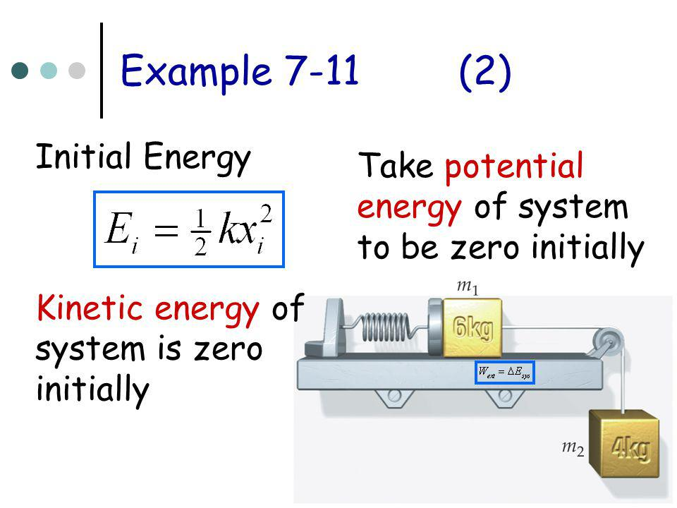 Example 7-11(2) Initial Energy Take potential energy of system to be zero initially Kinetic energy of system is zero initially