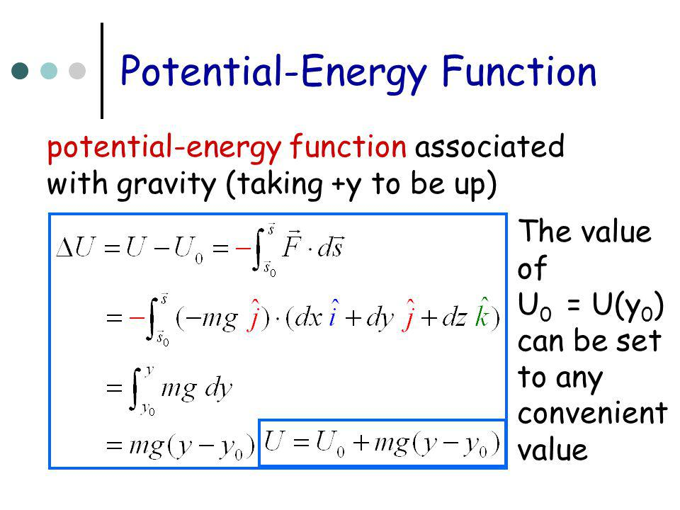 Potential-Energy Function potential-energy function associated with gravity (taking +y to be up) The value of U 0 = U(y 0 ) can be set to any convenie