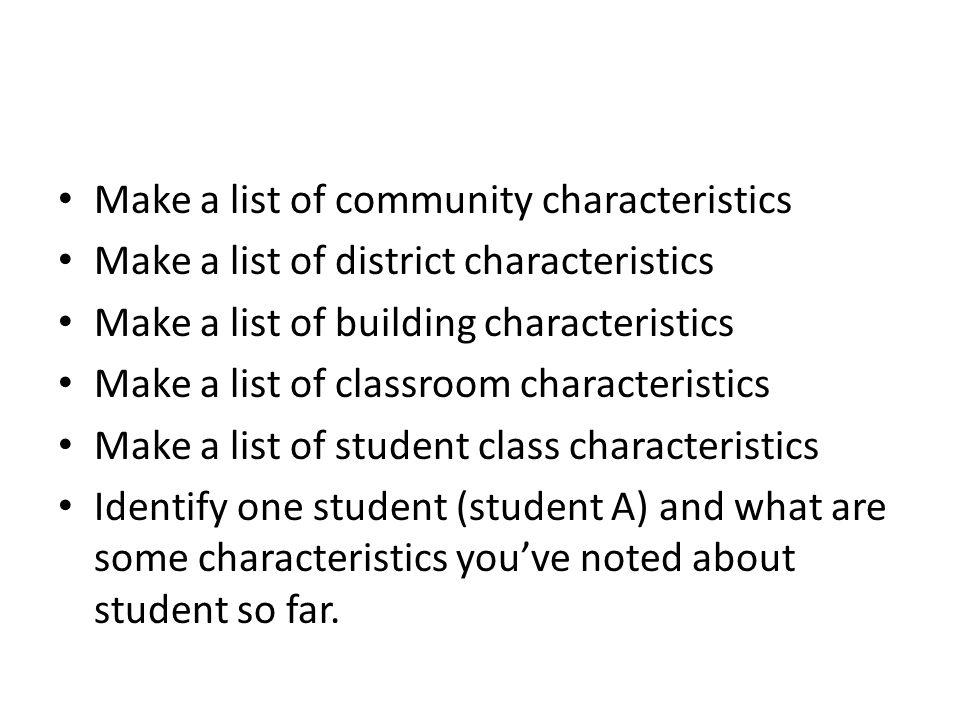 Make a list of community characteristics Make a list of district characteristics Make a list of building characteristics Make a list of classroom char
