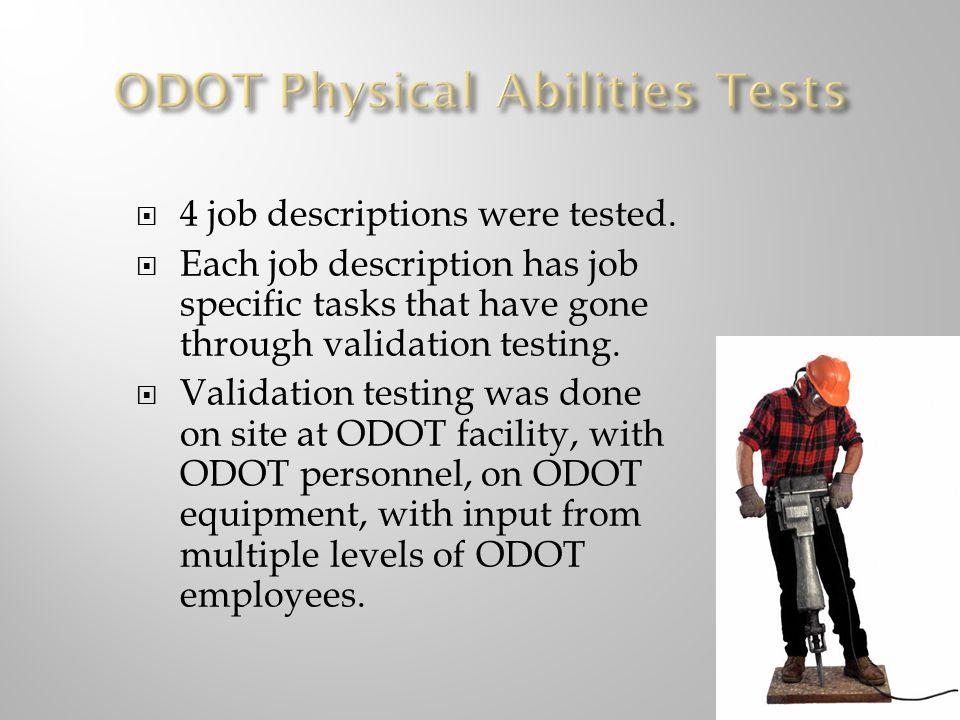 4 job descriptions were tested.
