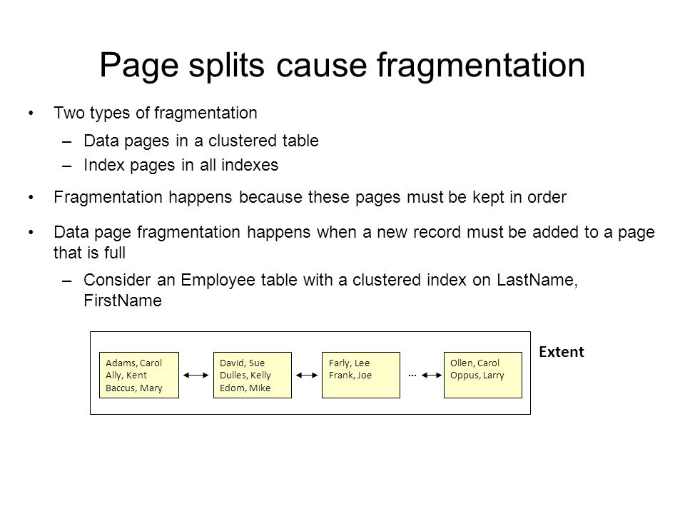 Page splits cause fragmentation Two types of fragmentation –Data pages in a clustered table –Index pages in all indexes Fragmentation happens because these pages must be kept in order Data page fragmentation happens when a new record must be added to a page that is full –Consider an Employee table with a clustered index on LastName, FirstName – A new employee, Peter Dent, is hired Extent Adams, Carol Ally, Kent Baccus, Mary David, Sue Dulles, Kelly Edom, Mike Farly, Lee Frank, Joe Ollen, Carol Oppus, Larry...