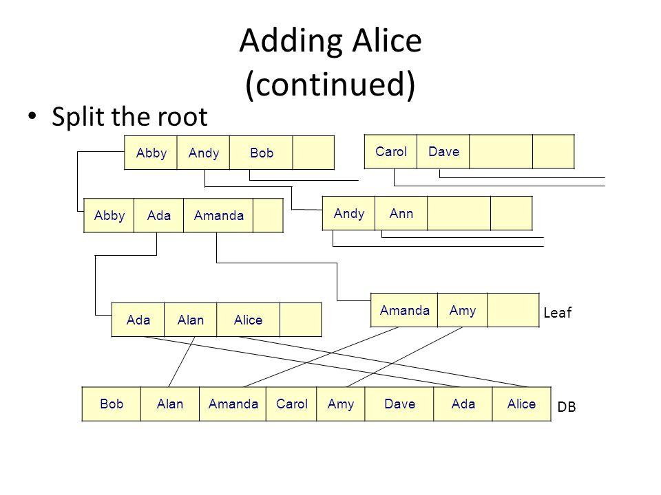 Adding Alice (continued) When the root splits, the tree grows another level Root (Level 0) Node (Level 1) Node (Level 2) Leaf (Level 3) DB AbbyCarol AmandaAmy BobAlanAmandaCarolAmyDaveAdaAlice AdaAlanAlice AbbyAndyBob AbbyAdaAmanda CarolDave AndyAnn