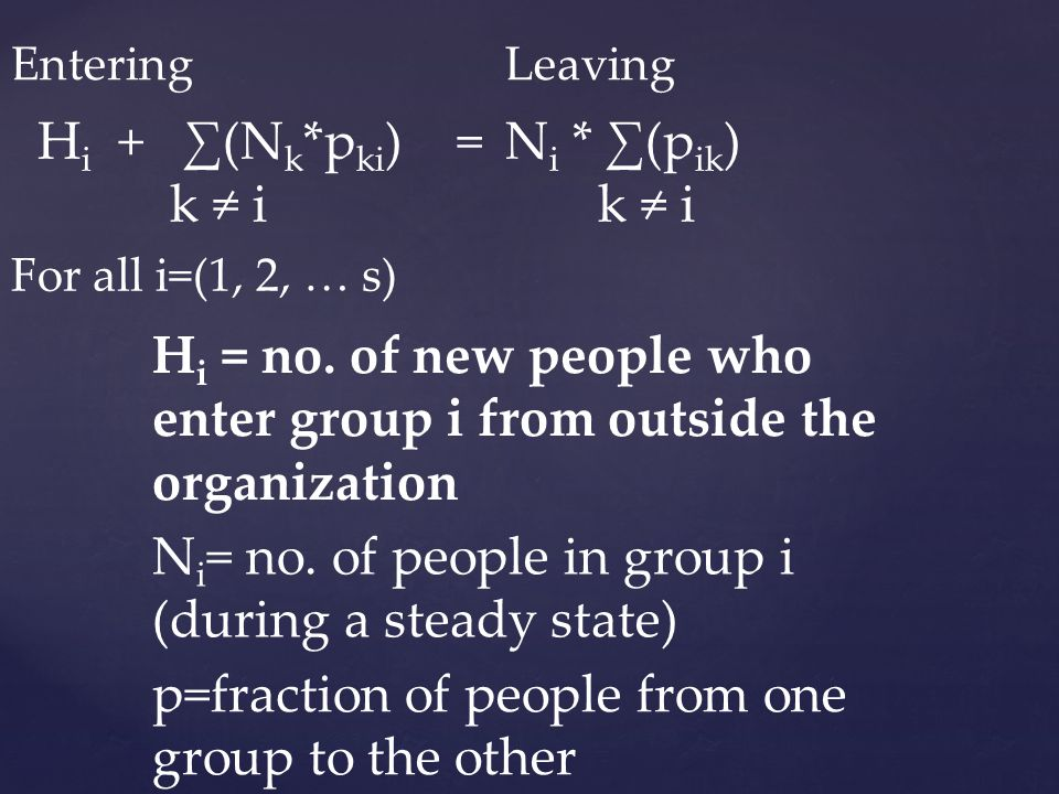 EnteringLeaving H i + (N k *p ki ) = k i N i * (p ik ) k i For all i=(1, 2, … s) H i = no. of new people who enter group i from outside the organizati