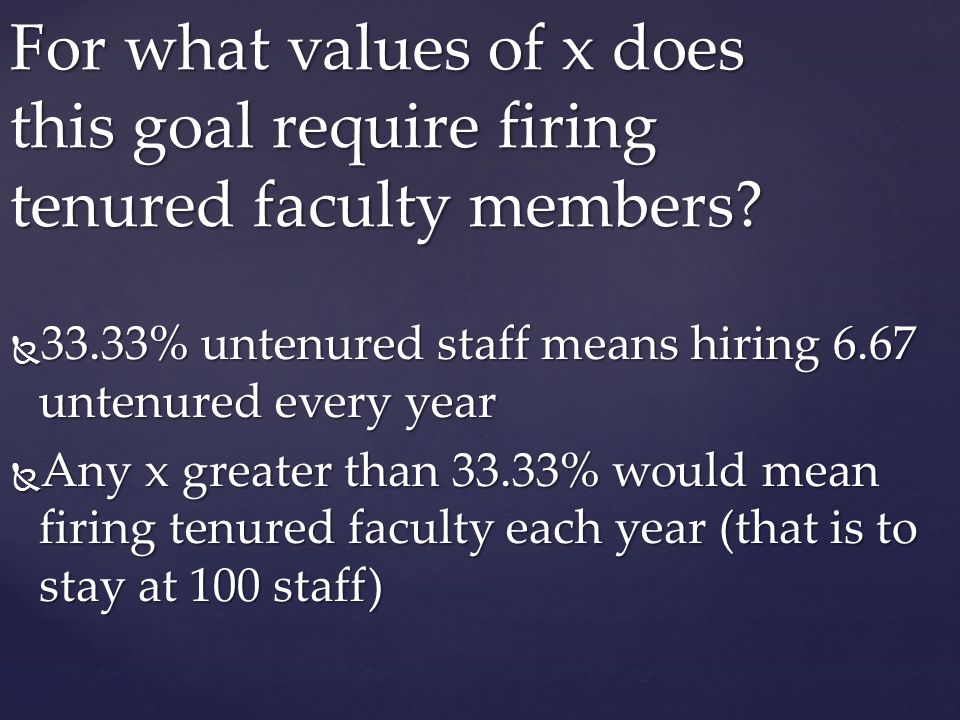 33.33% untenured staff means hiring 6.67 untenured every year 33.33% untenured staff means hiring 6.67 untenured every year Any x greater than 33.33%