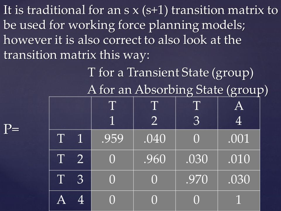 It is traditional for an s x (s+1) transition matrix to be used for working force planning models; however it is also correct to also look at the tran