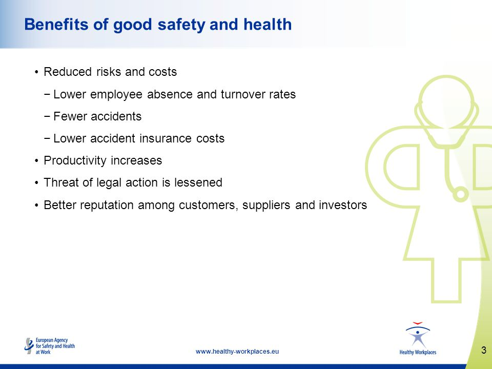3 www.healthy-workplaces.eu Benefits of good safety and health Reduced risks and costs Lower employee absence and turnover rates Fewer accidents Lower
