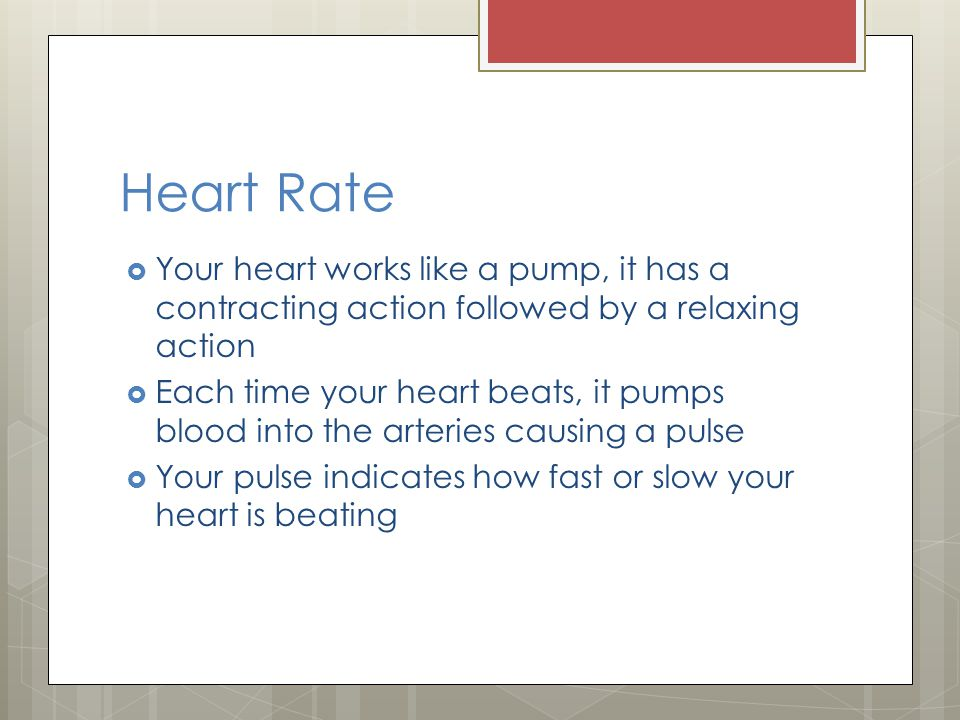 Heart Rate Your heart works like a pump, it has a contracting action followed by a relaxing action Each time your heart beats, it pumps blood into the arteries causing a pulse Your pulse indicates how fast or slow your heart is beating