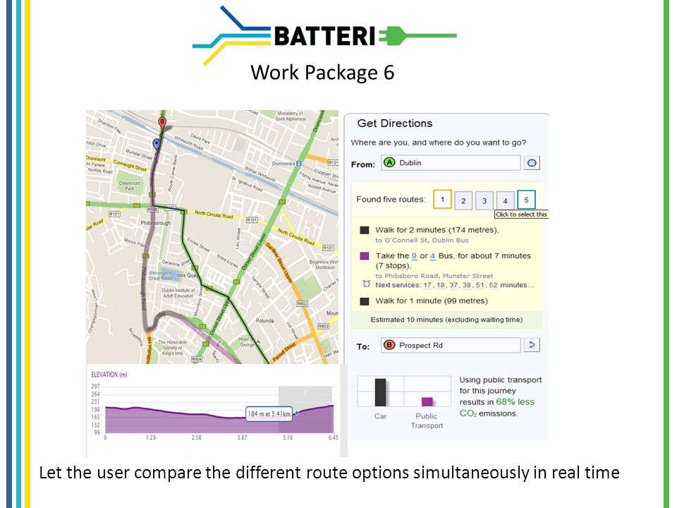 Work Package 6 Let the user compare the different route options simultaneously in real time
