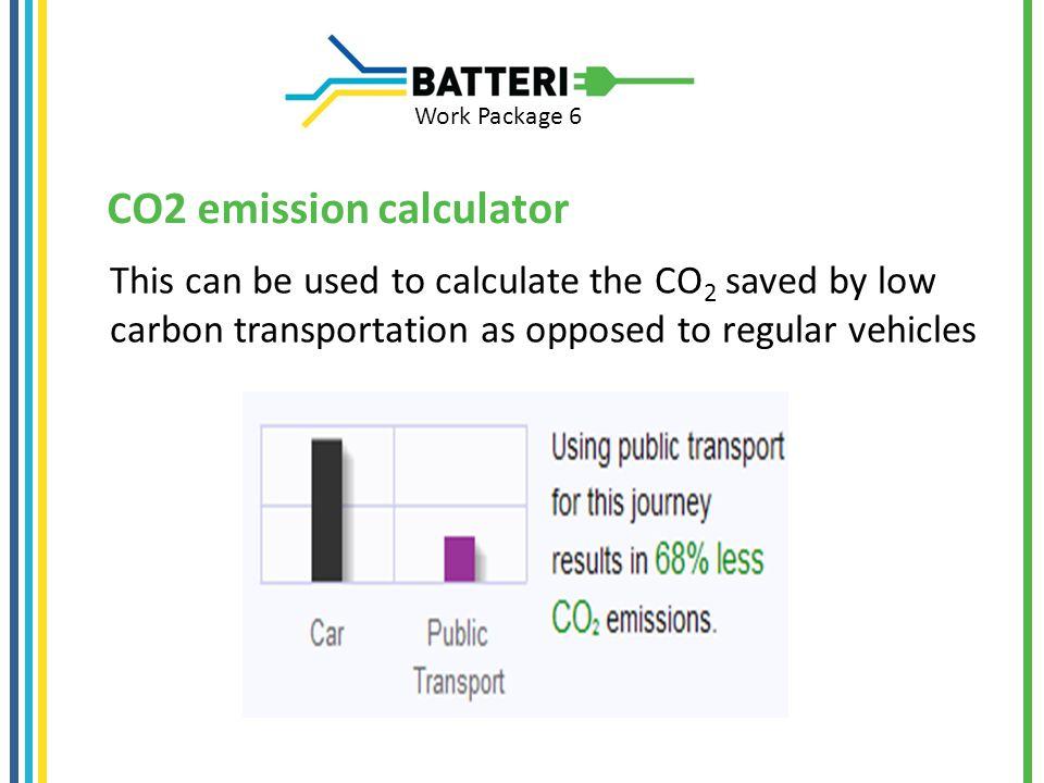Work Package 6 CO2 emission calculator This can be used to calculate the CO 2 saved by low carbon transportation as opposed to regular vehicles