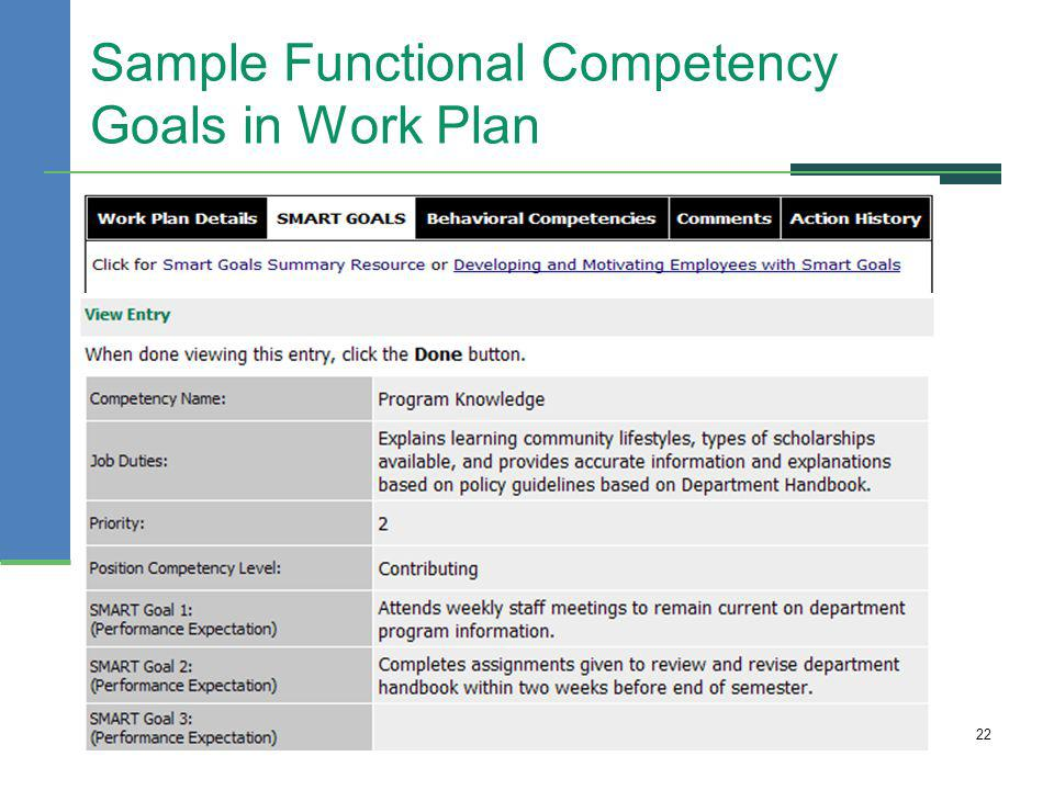 Sample Functional Competency Goals in Work Plan 22