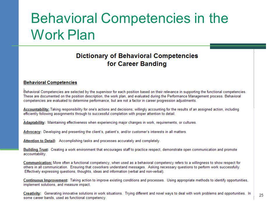 Behavioral Competencies in the Work Plan 25