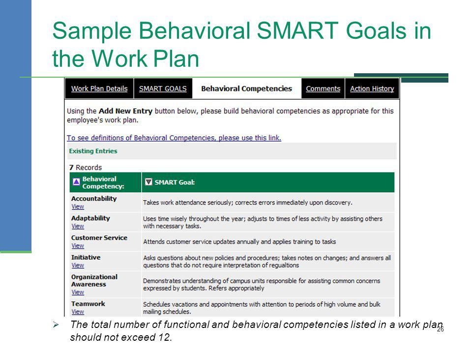 Sample Behavioral SMART Goals in the Work Plan The total number of functional and behavioral competencies listed in a work plan should not exceed 12.