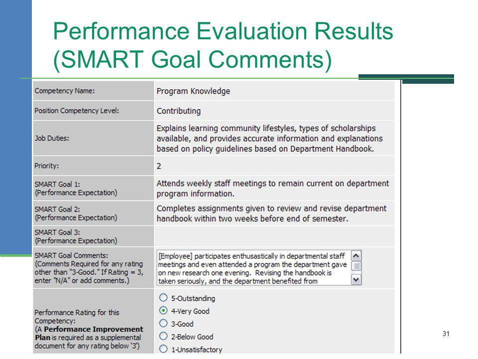 Performance Evaluation Results (SMART Goal Comments) 31