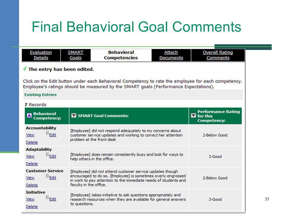 Final Behavioral Goal Comments 33