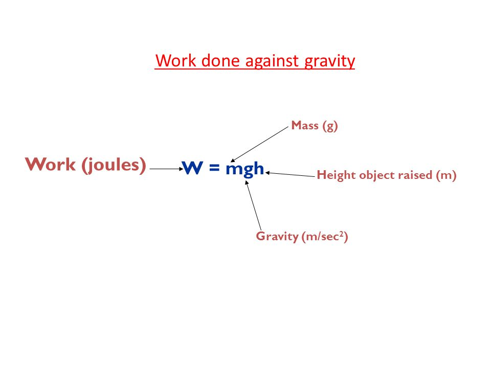 Work done against gravity Work (joules) W = mgh Mass (g) Height object raised (m) Gravity (m/sec 2 )