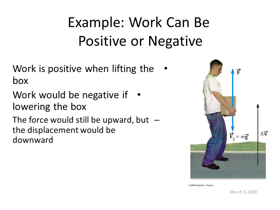 March 3, 2009 Example: Work Can Be Positive or Negative Work is positive when lifting the box Work would be negative if lowering the box – The force w