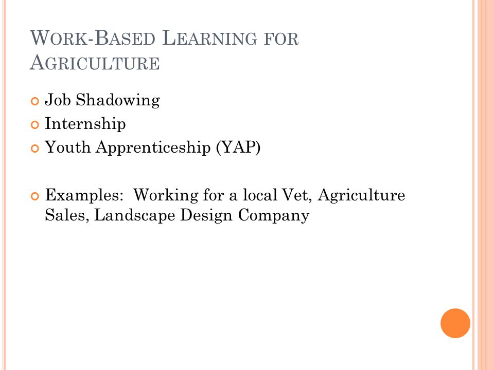 W ORK -B ASED L EARNING FOR A GRICULTURE Job Shadowing Internship Youth Apprenticeship (YAP) Examples: Working for a local Vet, Agriculture Sales, Landscape Design Company
