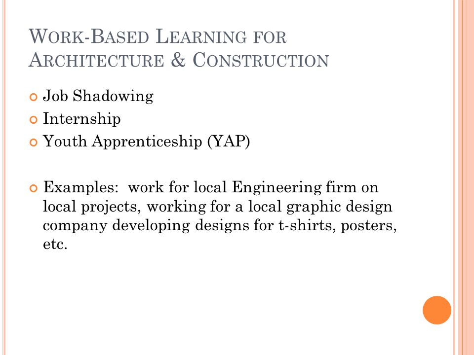 W ORK -B ASED L EARNING FOR A RCHITECTURE & C ONSTRUCTION Job Shadowing Internship Youth Apprenticeship (YAP) Examples: work for local Engineering firm on local projects, working for a local graphic design company developing designs for t-shirts, posters, etc.
