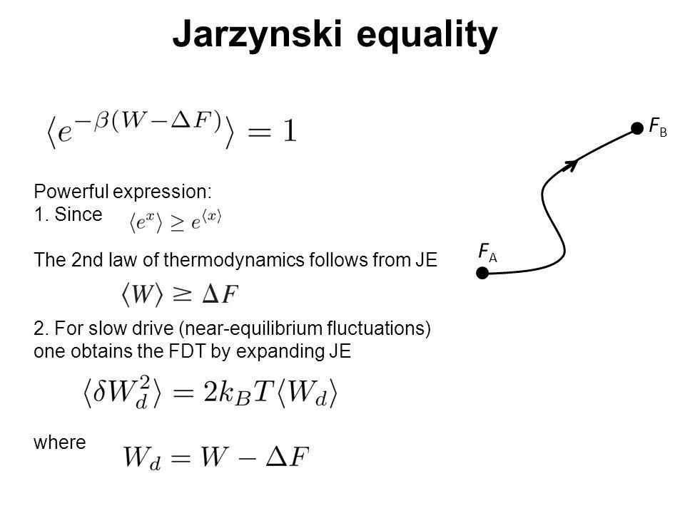 Jarzynski equality Powerful expression: 1. Since The 2nd law of thermodynamics follows from JE 2. For slow drive (near-equilibrium fluctuations) one o