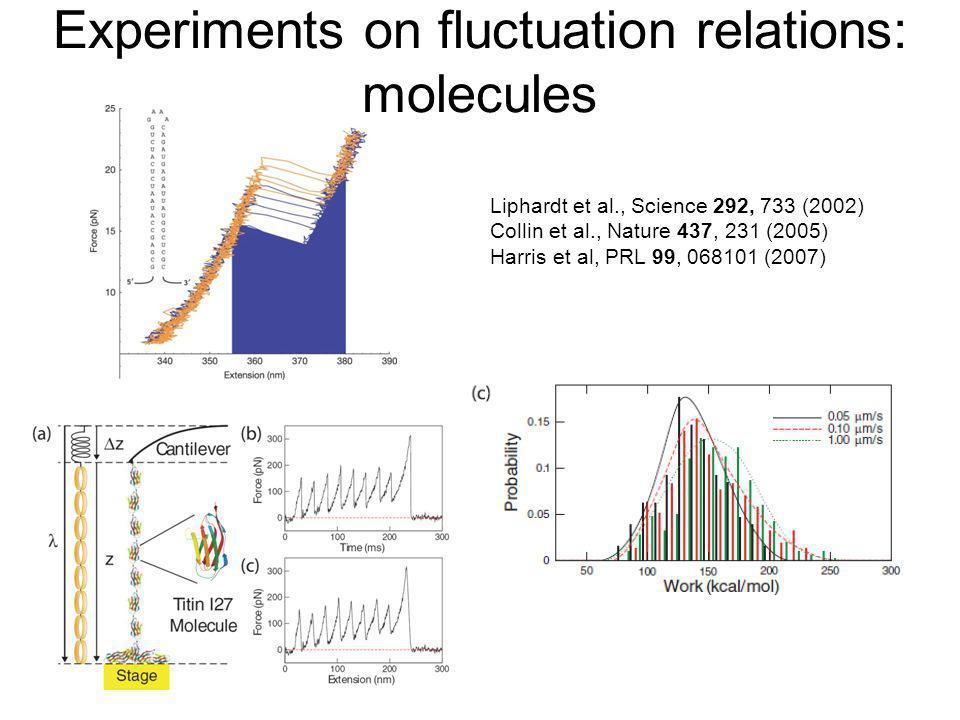 Experiments on fluctuation relations: molecules Liphardt et al., Science 292, 733 (2002) Collin et al., Nature 437, 231 (2005) Harris et al, PRL 99, 0
