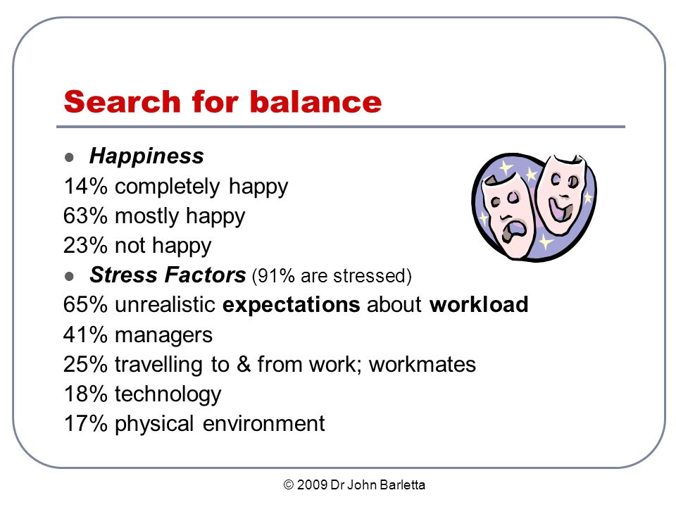 © 2009 Dr John Barletta Components of Life Balance Areas of Well-Being & Wellness