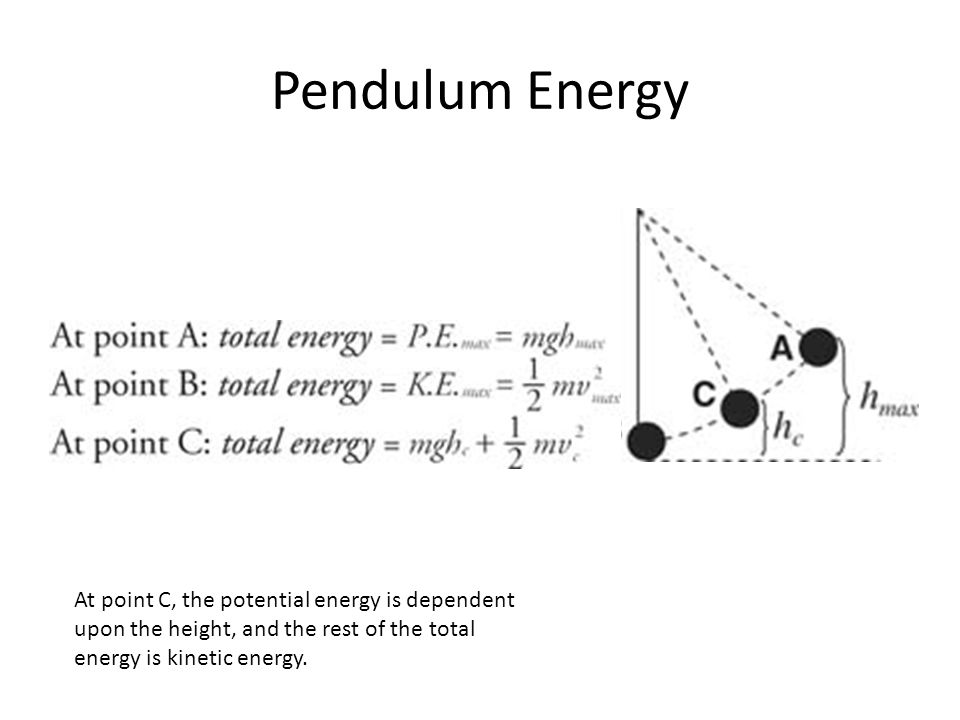Pendulum Energy At point C, the potential energy is dependent upon the height, and the rest of the total energy is kinetic energy.