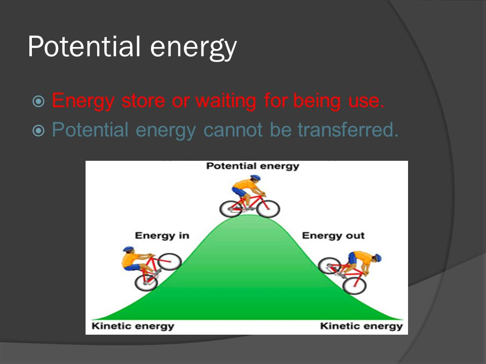 Potential energy Energy store or waiting for being use. Potential energy cannot be transferred.