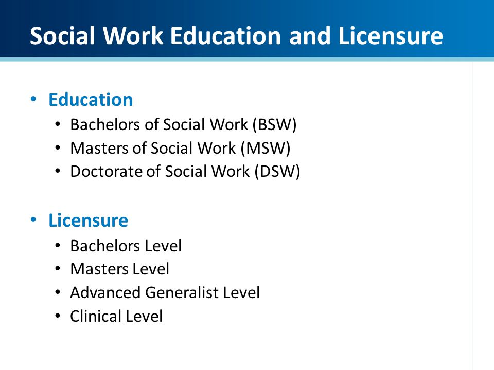 Social Work Education and Licensure Education Bachelors of Social Work (BSW) Masters of Social Work (MSW) Doctorate of Social Work (DSW) Licensure Bac