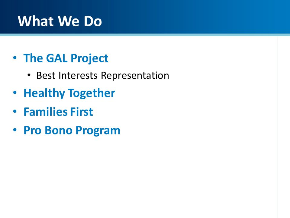 What We Do The GAL Project Best Interests Representation Healthy Together Families First Pro Bono Program