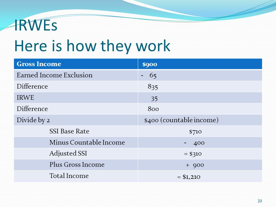 IRWEs Here is how they work Gross Income $900 Earned Income Exclusion-65 Difference 835 IRWE 35 Difference 800 Divide by 2 $400 (countable income) SSI Base Rate $710 Minus Countable Income - 400 Adjusted SSI = $310 Plus Gross Income + 900 Total Income = $1,210 39