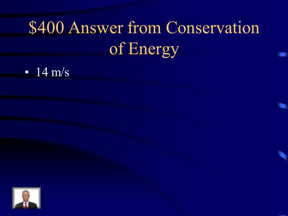 $400 Question from Conservation of Energy A 2 kg object sits at the top of a 10 m hill.