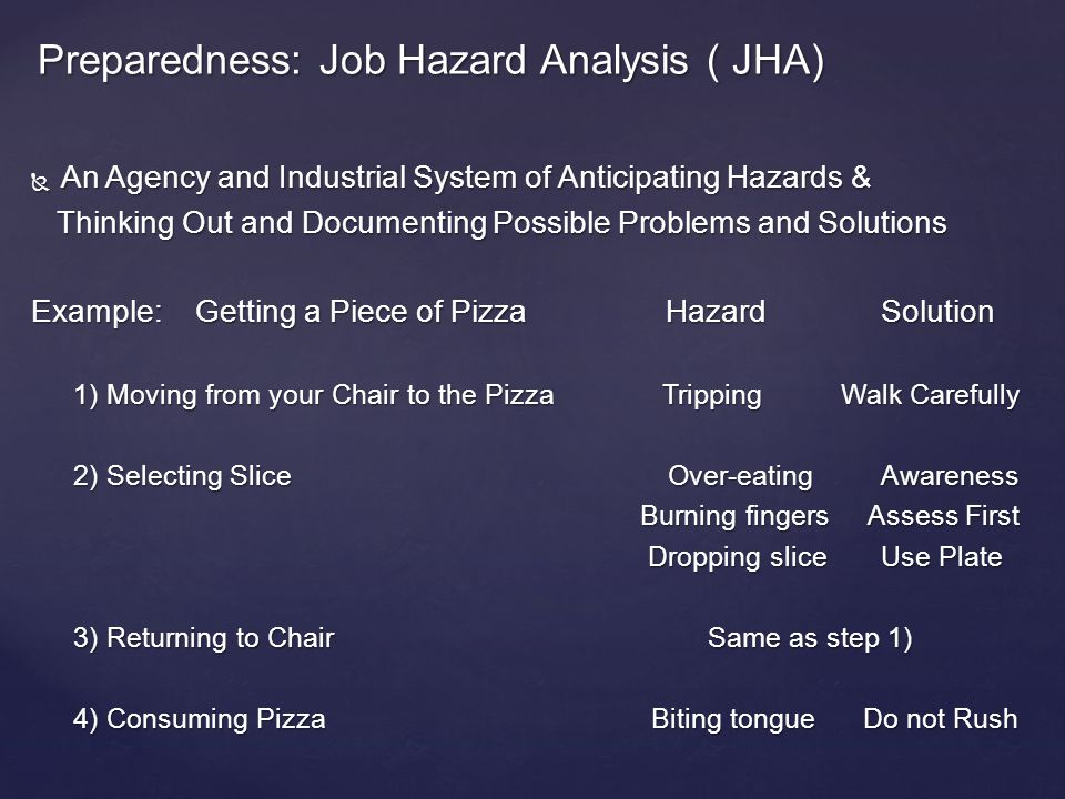 An Agency and Industrial System of Anticipating Hazards & An Agency and Industrial System of Anticipating Hazards & Thinking Out and Documenting Possible Problems and Solutions Thinking Out and Documenting Possible Problems and Solutions Example: Getting a Piece of Pizza HazardSolution 1) Moving from your Chair to the Pizza Tripping Walk Carefully 2) Selecting SliceOver-eatingAwareness Burning fingers Assess First Burning fingers Assess First Dropping slice Use Plate Dropping slice Use Plate 3) Returning to Chair Same as step 1) 4) Consuming Pizza Biting tongue Do not Rush Preparedness: Job Hazard Analysis ( JHA)