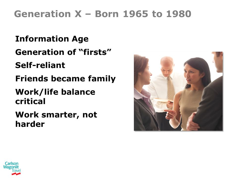 Generation X – Born 1965 to 1980 Information Age Generation of firsts Self-reliant Friends became family Work/life balance critical Work smarter, not harder