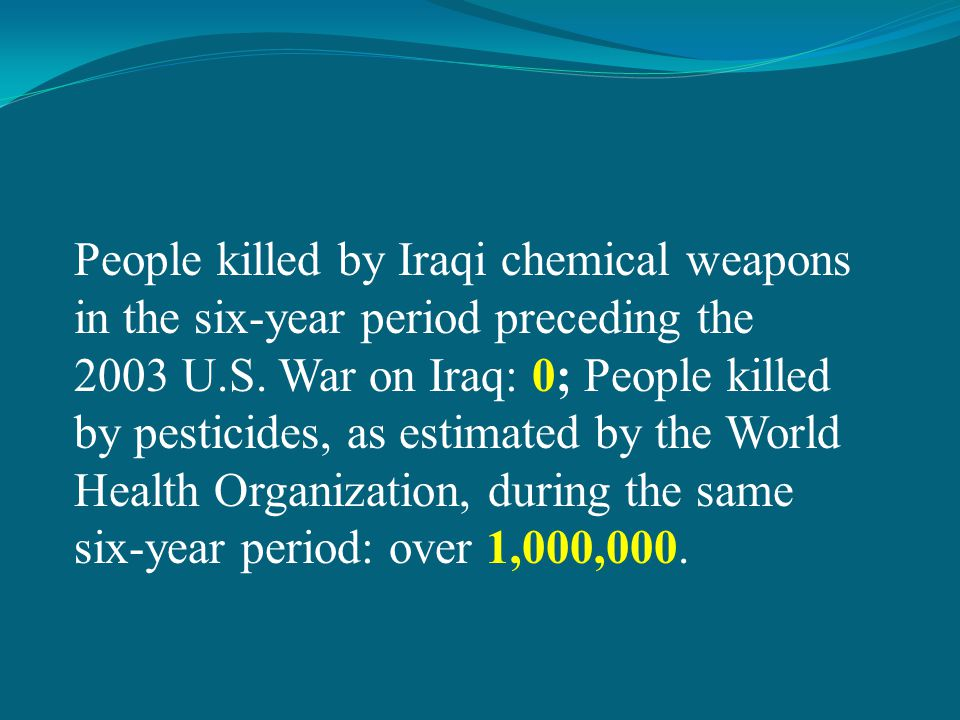 People killed by Iraqi chemical weapons in the six-year period preceding the 2003 U.S.