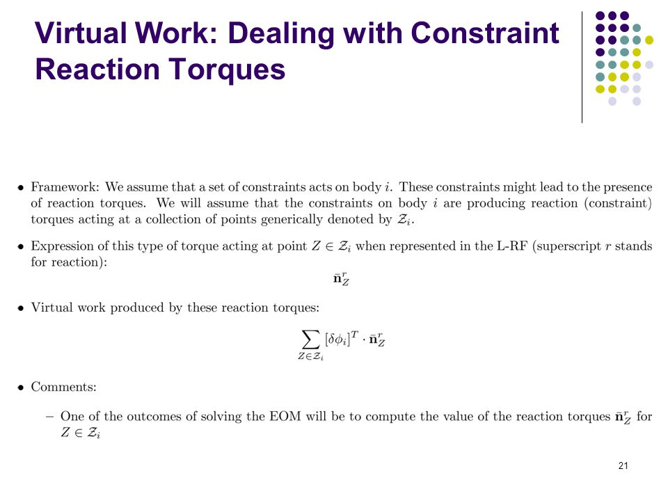 Virtual Work: Dealing with Constraint Reaction Torques 21