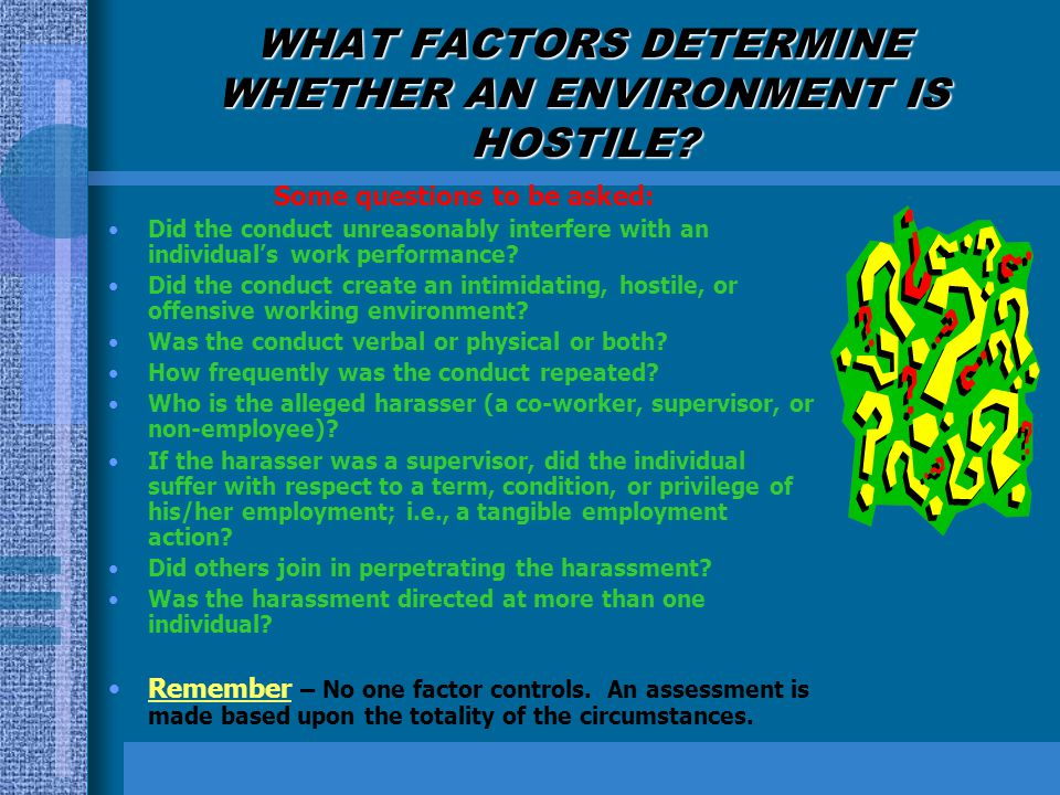 WHAT FACTORS DETERMINE WHETHER AN ENVIRONMENT IS HOSTILE? Some questions to be asked: Did the conduct unreasonably interfere with an individuals work