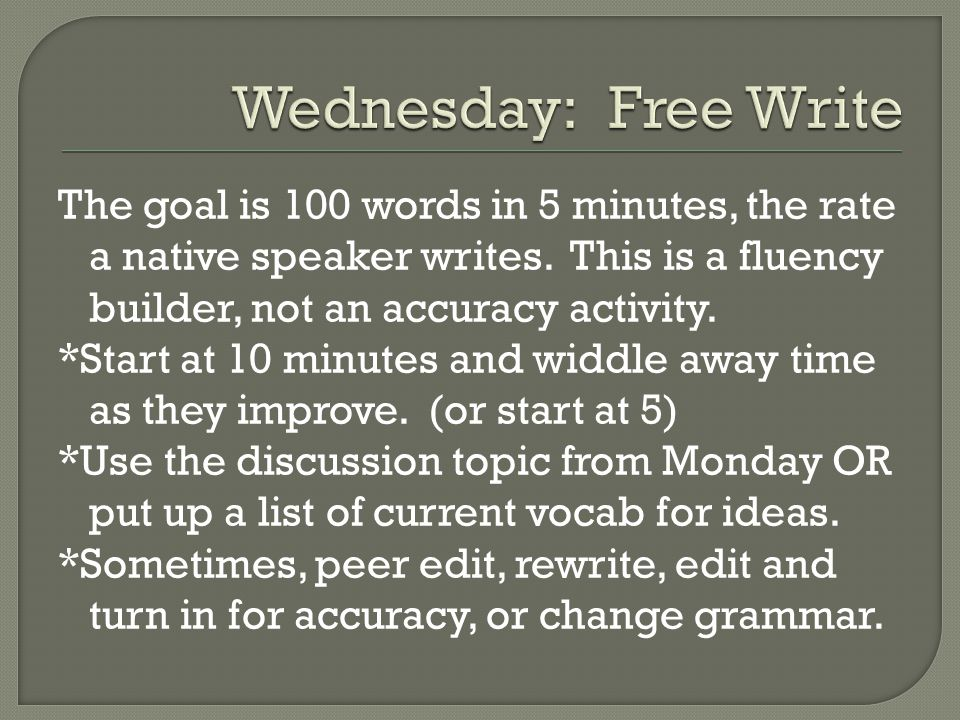 The goal is 100 words in 5 minutes, the rate a native speaker writes.
