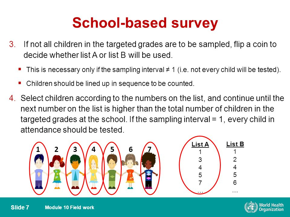 Module 10 Field work School-based survey Slide 7 3.If not all children in the targeted grades are to be sampled, flip a coin to decide whether list A or list B will be used.