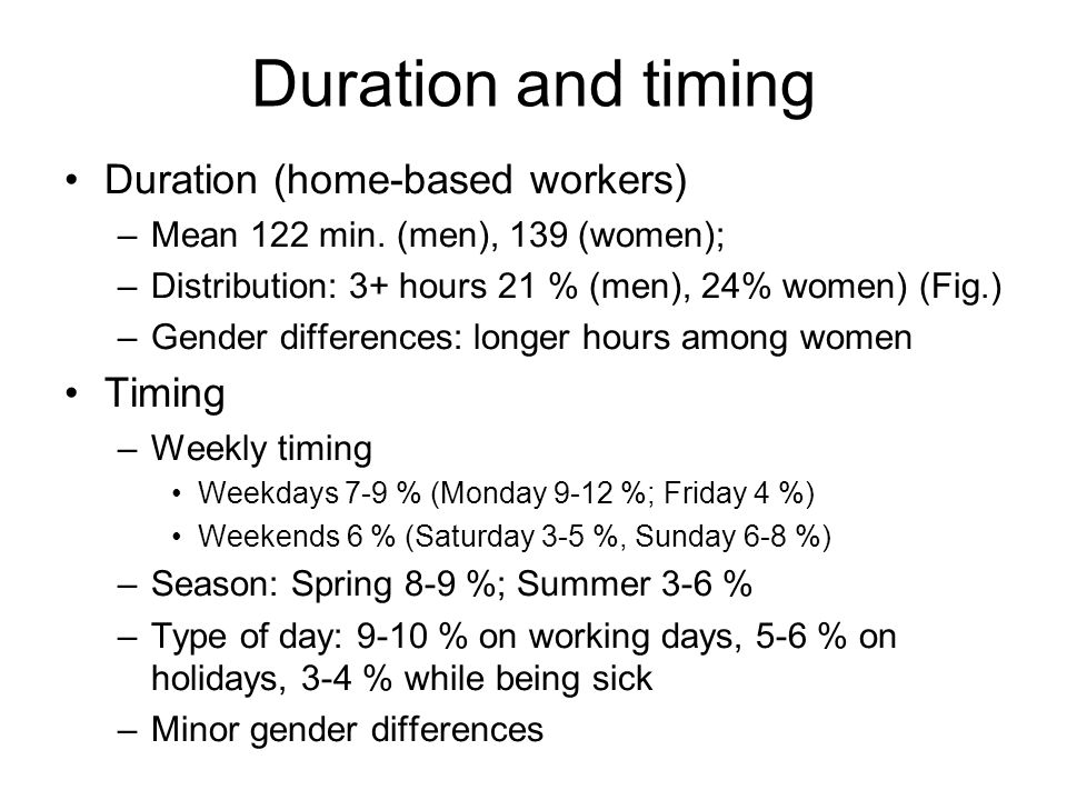 Duration and timing Duration (home-based workers) –Mean 122 min.