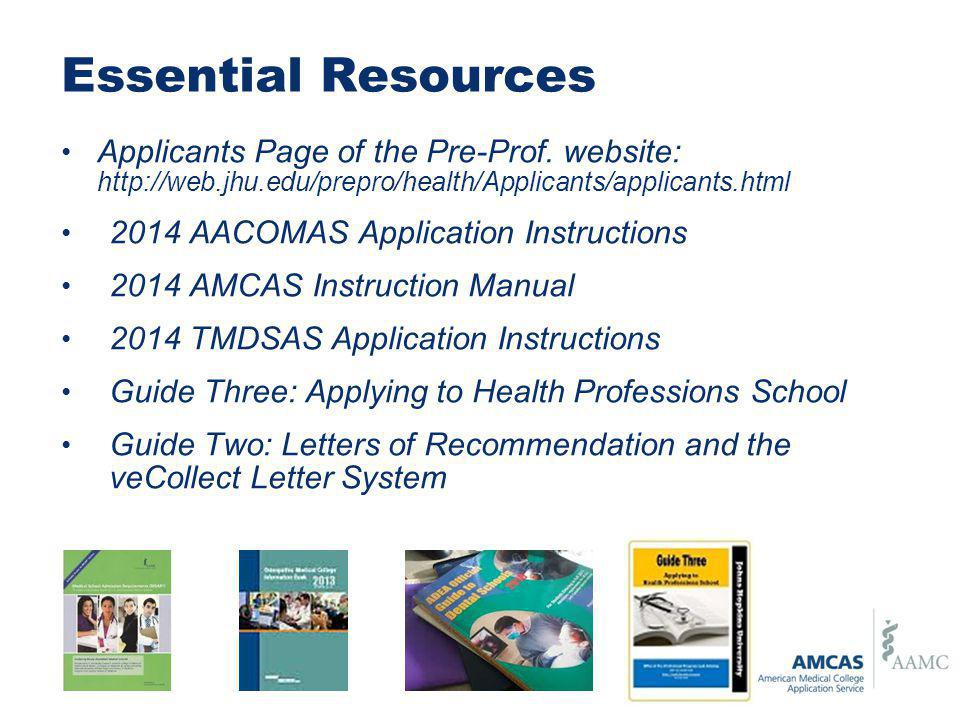 Essential Resources Applicants Page of the Pre-Prof.