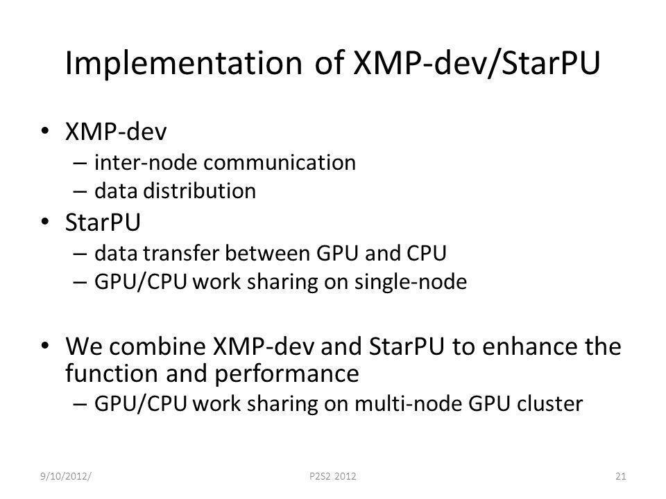 Implementation of XMP-dev/StarPU XMP-dev – inter-node communication – data distribution StarPU – data transfer between GPU and CPU – GPU/CPU work shar