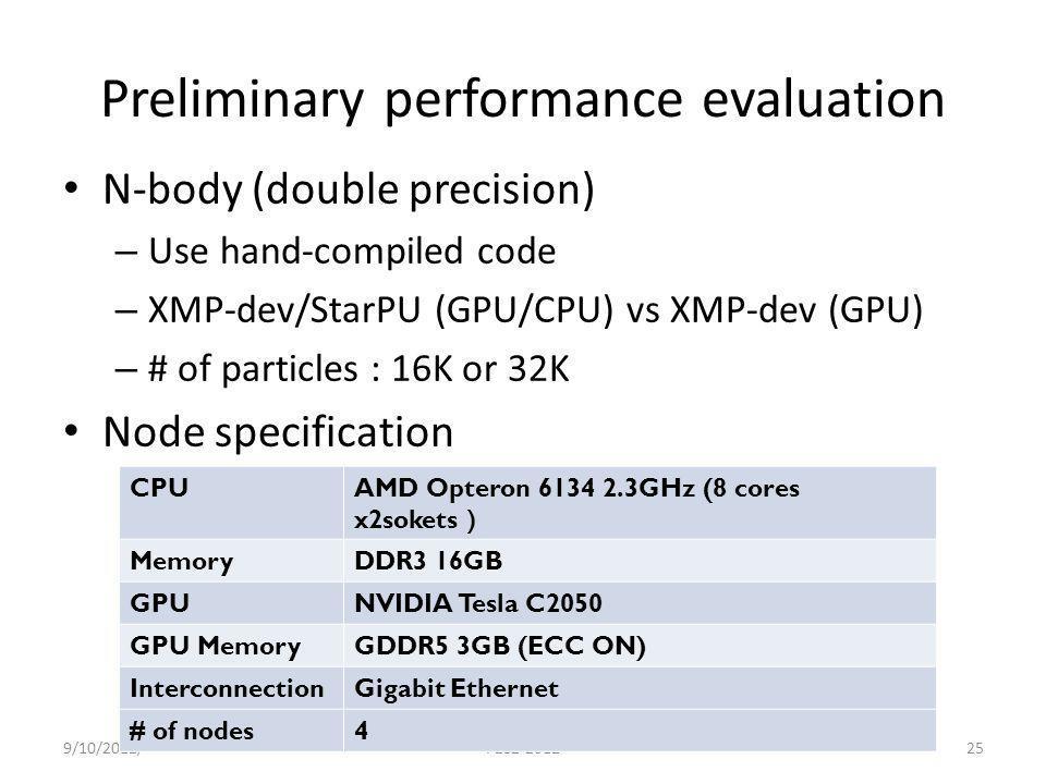 Preliminary performance evaluation N-body (double precision) – Use hand-compiled code – XMP-dev/StarPU (GPU/CPU) vs XMP-dev (GPU) – # of particles : 1