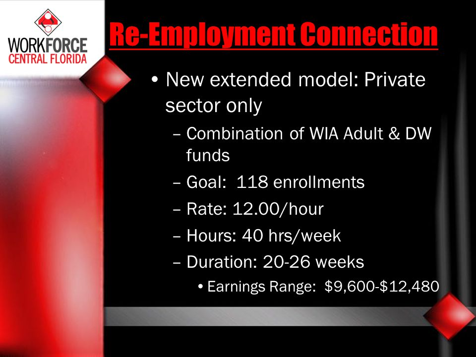 Re-Employment Connection New extended model: Private sector only –Combination of WIA Adult & DW funds –Goal: 118 enrollments –Rate: 12.00/hour –Hours: